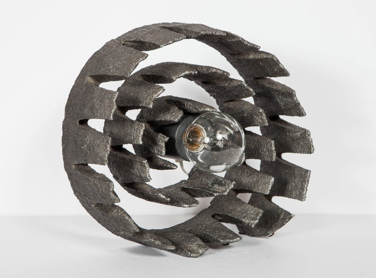 Mid-Century Modern Brutalist Spiral Sculpture and Lamp from Germany In Excellent Condition For Sale In Stamford, CT