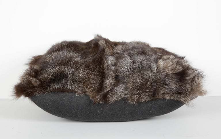Hand-Crafted Luxe Genuine Fox Fur Pillows in Hues of Grey For Sale