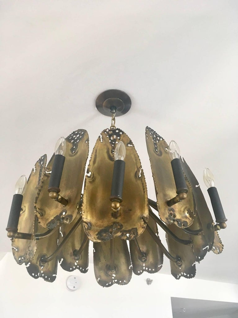 American Midcentury Brutalist Chandelier Designed by Tom Greene For Sale