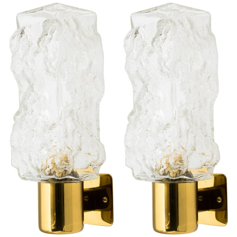 Pair of Mid-Century Modern Brutalist Glass Sconces by Kalmar For Sale