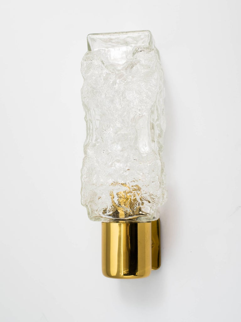 Austrian Pair of Mid-Century Modern Brutalist Glass Sconces by Kalmar For Sale