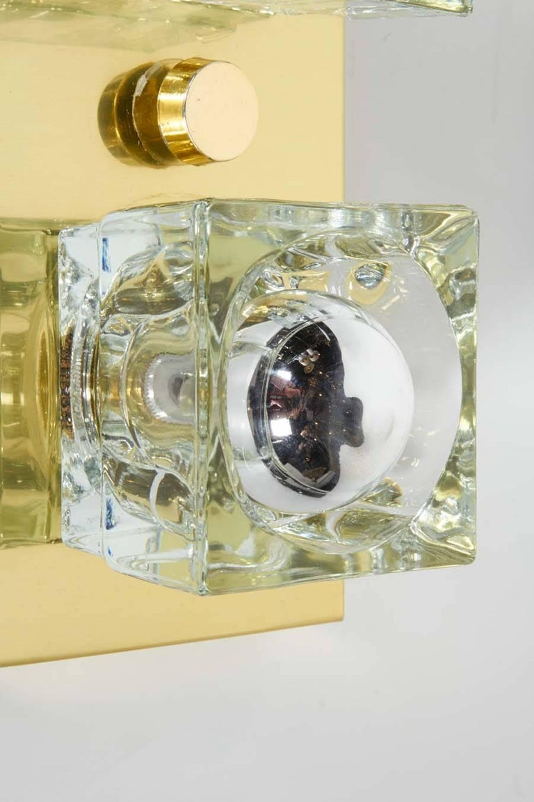 Pair of Mid-Century Modern Brass and Glass Cube Sconces by Gaetano Sciolari For Sale 3