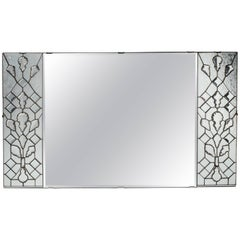 1940s Hollywood Regency Mirror with Large Cut Crystals Insets