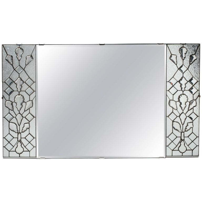 1940s Hollywood Regency Mirror with Large Cut Crystals Insets For Sale