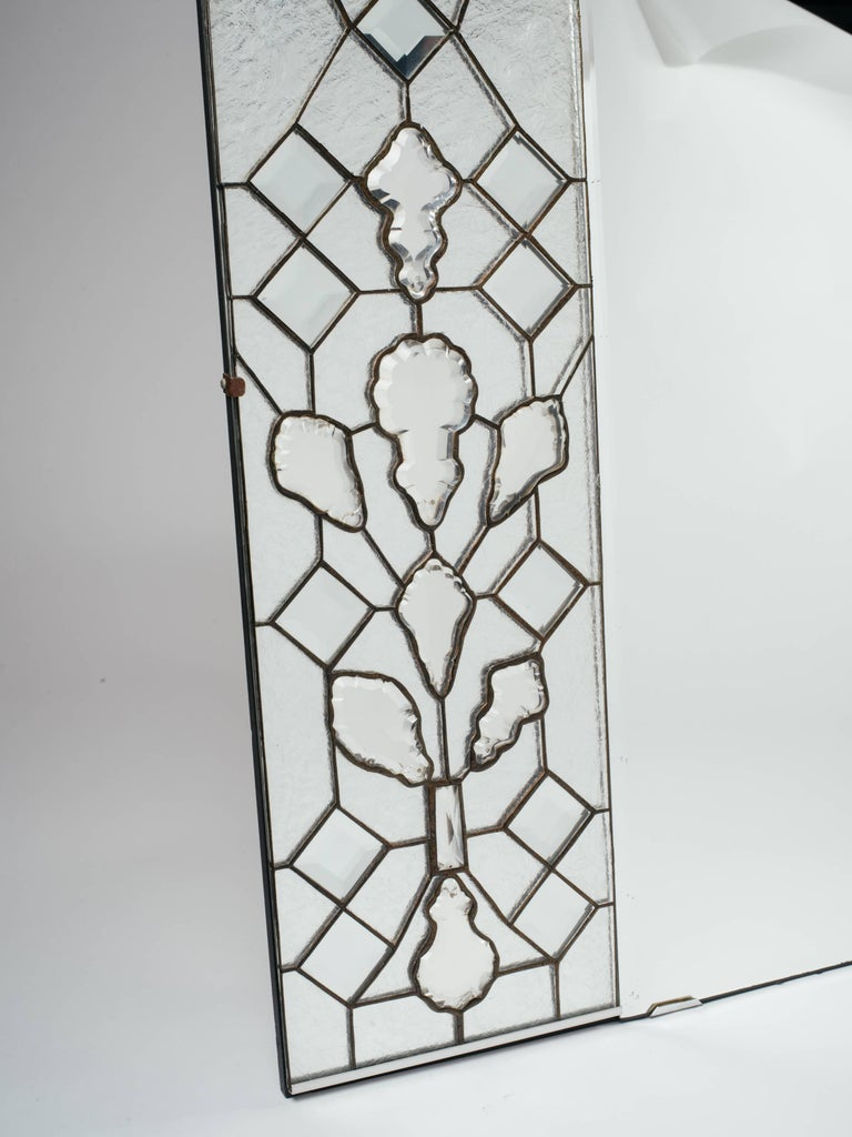 Inlay 1940s Hollywood Regency Mirror with Large Cut Crystals Insets For Sale