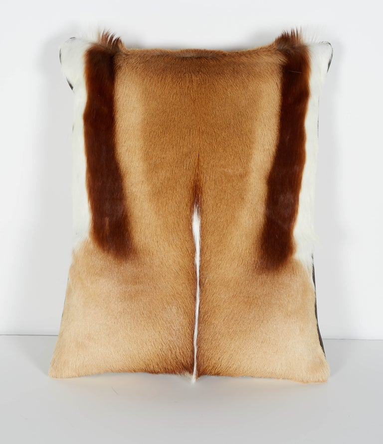 Organic Modern Pair of Luxury Fur Throw Pillows in Exotic African Springbok For Sale