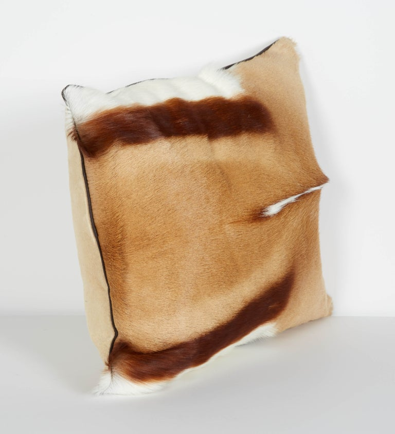 American Pair of Luxury Fur Throw Pillows in Exotic African Springbok For Sale