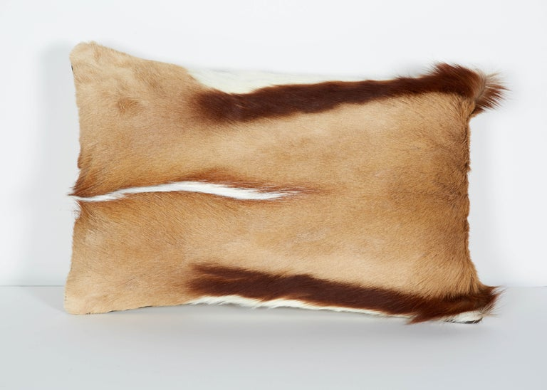 Hand-Crafted Pair of Luxury Fur Throw Pillows in Exotic African Springbok For Sale