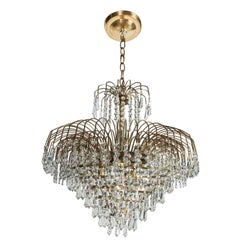 Hollywood Regency Cut Crystal Waterfall Chandelier
