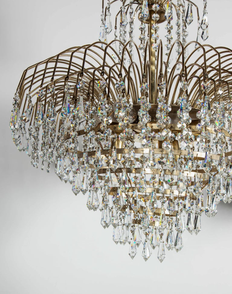 American Hollywood Regency Cut Crystal Waterfall Chandelier For Sale