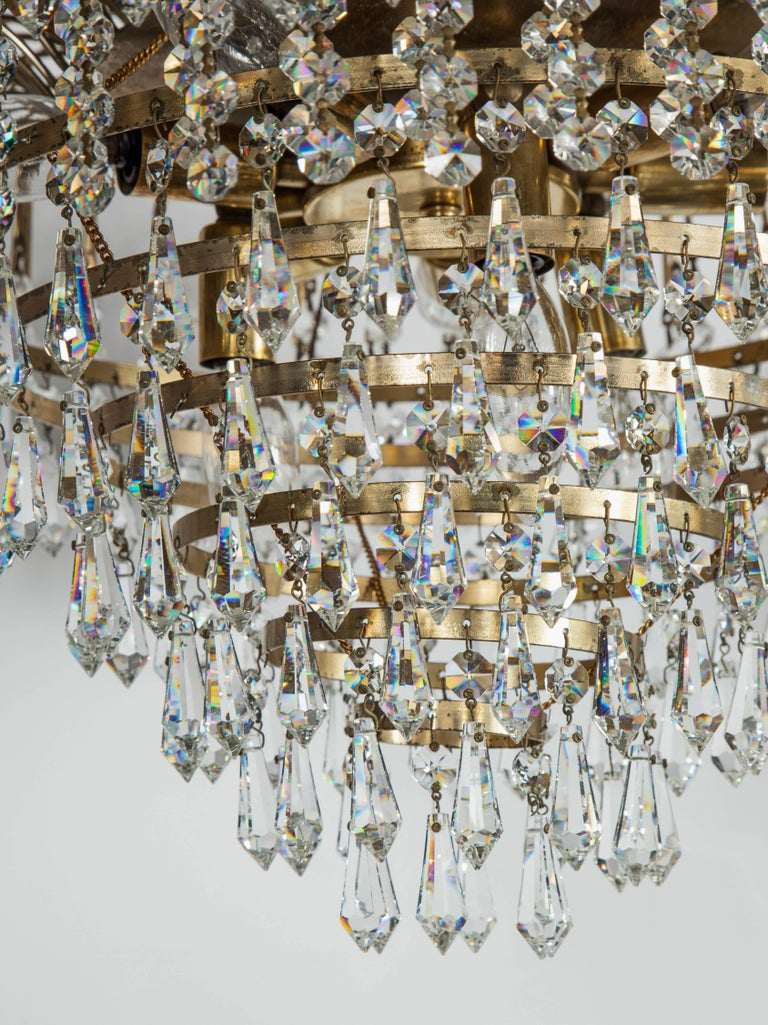 Hand-Crafted Hollywood Regency Cut Crystal Waterfall Chandelier For Sale