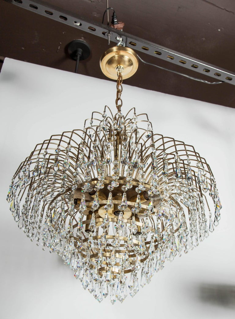 Hollywood Regency Cut Crystal Waterfall Chandelier In Good Condition For Sale In Stamford, CT