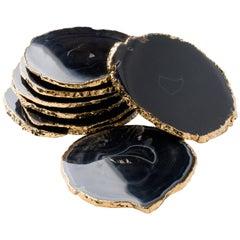 Set of Eight Semi-Precious Gemstone Coasters Black Onyx Wrapped in 24-Karat Gold