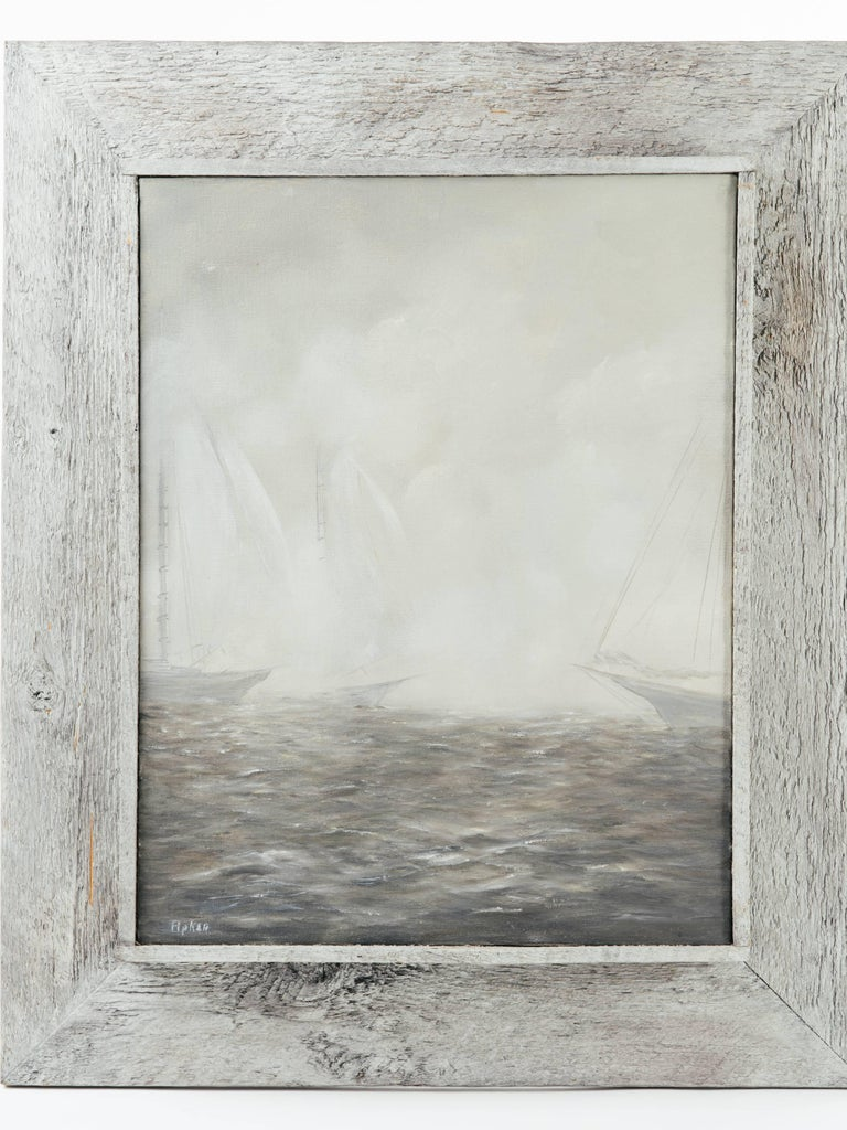 Beautiful Mid-Century Modern impressionism painting depicting a series of sailboats in heavy fog. Comprised of monochromatic colors in hues of grey, taupe, and white. In original rustic pine wood shadowbox frame in a driftwood grey.