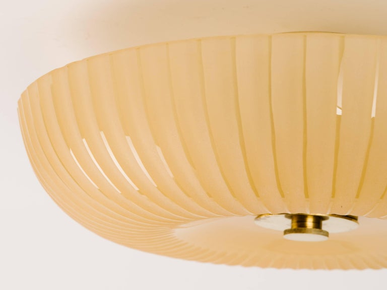Swedish Art Deco Crystal Flush Mount Chandelier by Orrefors In Good Condition For Sale In Stamford, CT