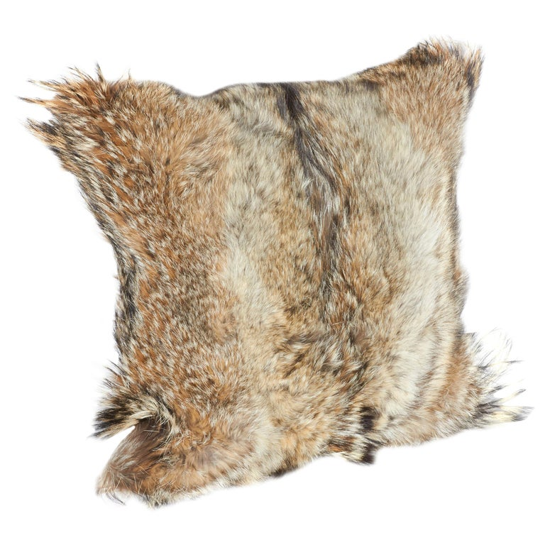American Luxury Fur Throw Pillow in Genuine Coyote and Cashmere For Sale