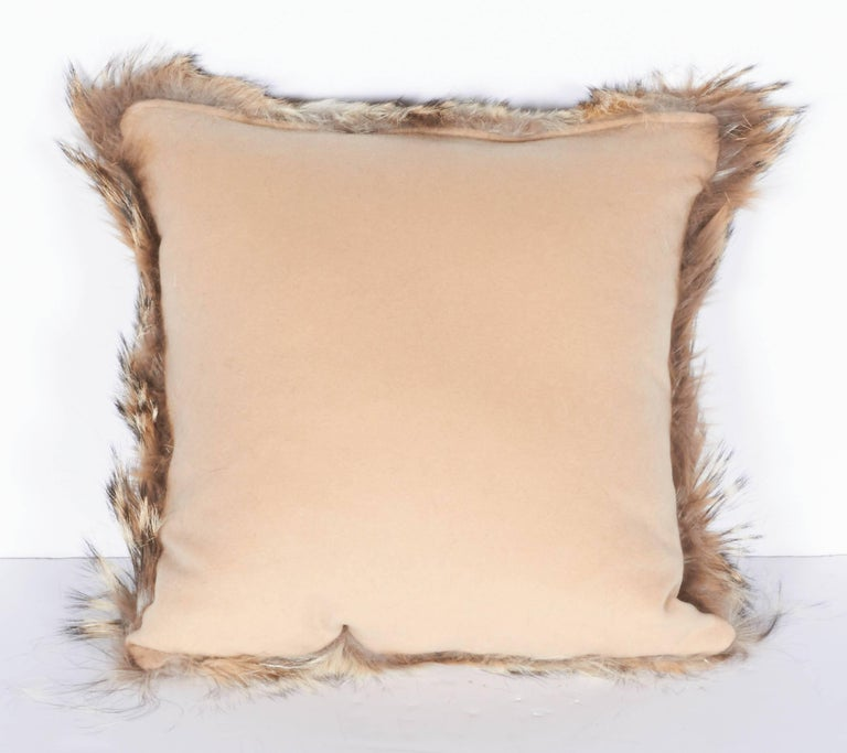 Hand-Crafted Luxury Fur Throw Pillow in Genuine Coyote and Cashmere For Sale