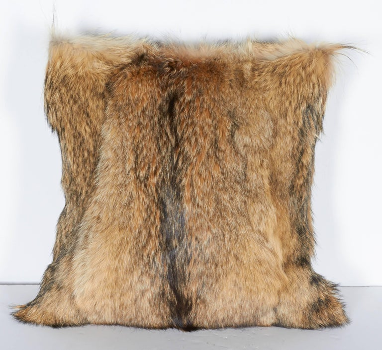 Contemporary Luxury Fur Throw Pillow in Genuine Coyote and Cashmere For Sale
