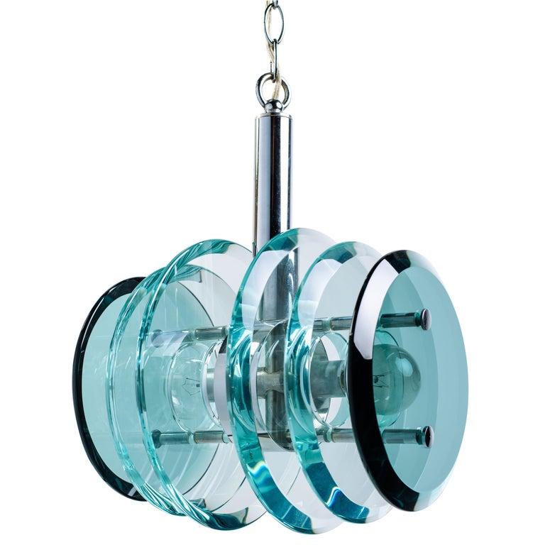 Italian Mid-Century Modern Geometric Glass Pendant Light For Sale