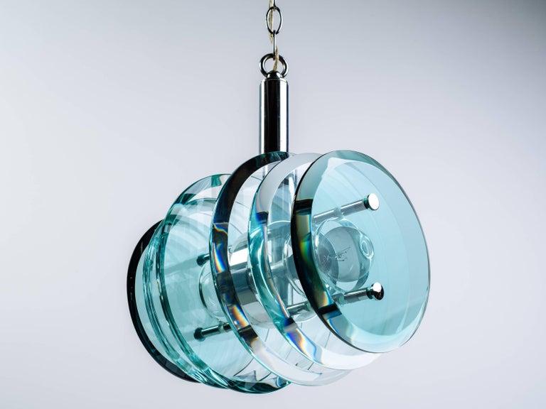Beveled Italian Mid-Century Modern Geometric Glass Pendant Light For Sale