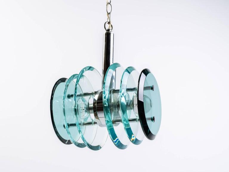 Italian Mid-Century Modern Geometric Glass Pendant Light For Sale 2