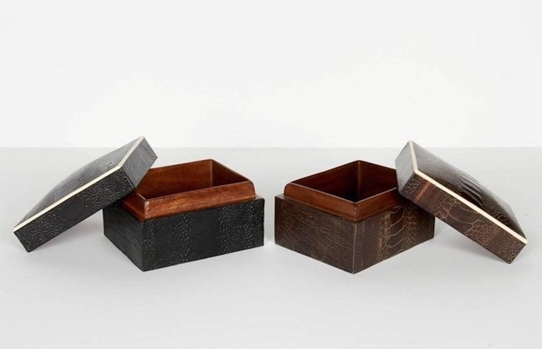 Contemporary Exotic Black Ostrich Leather Decorative Box with Bone Inlay For Sale