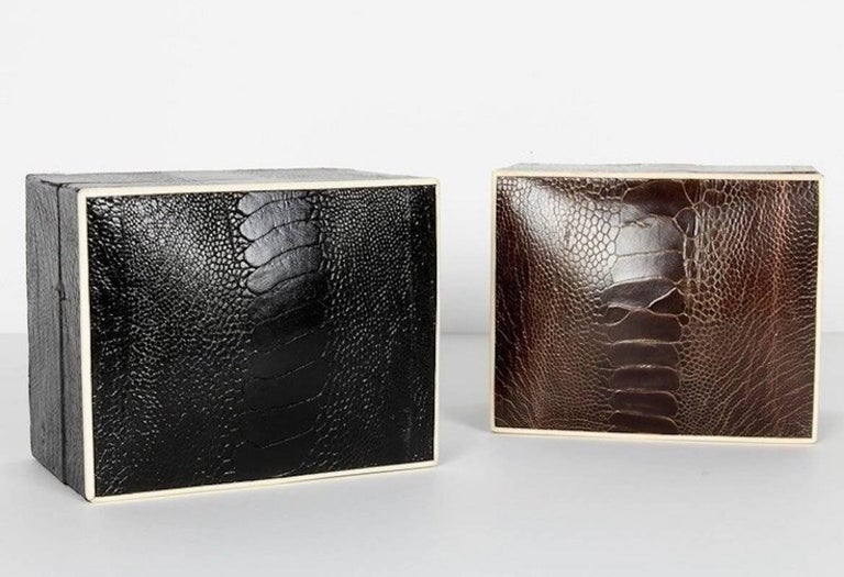 Organic Modern Exotic Ostrich Brown Leather Decorative Box with Bone Inlay For Sale