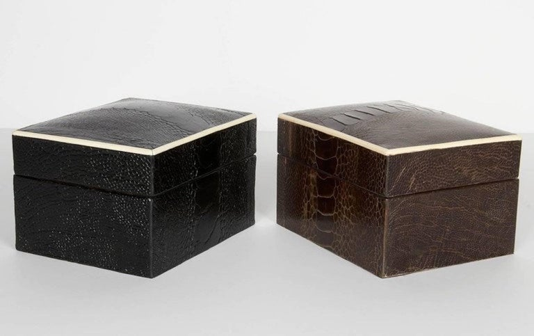 French Exotic Ostrich Brown Leather Decorative Box with Bone Inlay For Sale