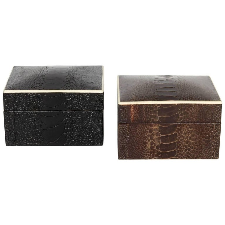 Contemporary Exotic Ostrich Brown Leather Decorative Box with Bone Inlay For Sale