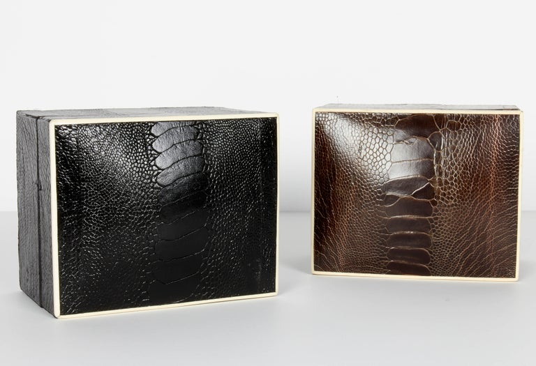 Organic Modern Pair of Exotic Ostrich Leather Decorative Boxes with Bone Inlay 'Black/Espresso' For Sale