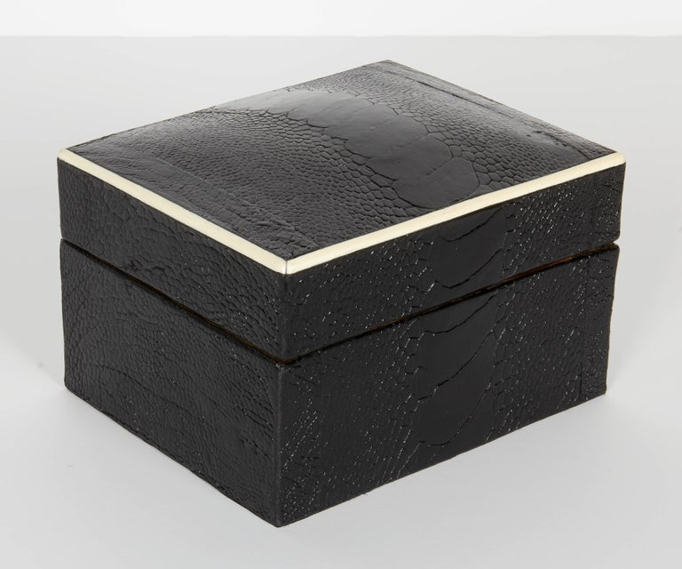 French Pair of Exotic Ostrich Leather Decorative Boxes with Bone Inlay 'Black/Espresso' For Sale