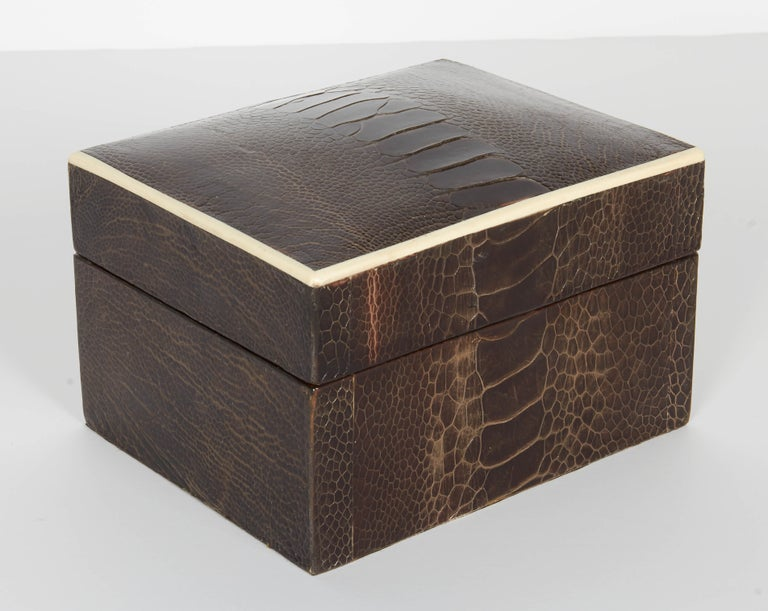 Pair of Exotic Ostrich Leather Decorative Boxes with Bone Inlay 'Black/Espresso' For Sale 2