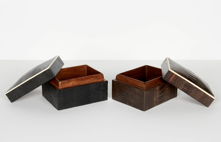 Pair of Exotic Ostrich Leather Decorative Boxes with Bone Inlay 'Black/Espresso' In Excellent Condition For Sale In Stamford, CT