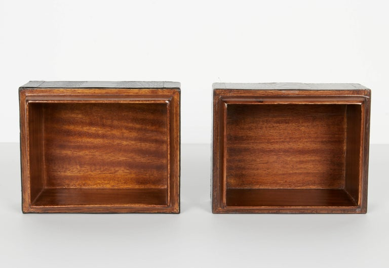 Contemporary Pair of Exotic Ostrich Leather Decorative Boxes with Bone Inlay 'Black/Espresso' For Sale