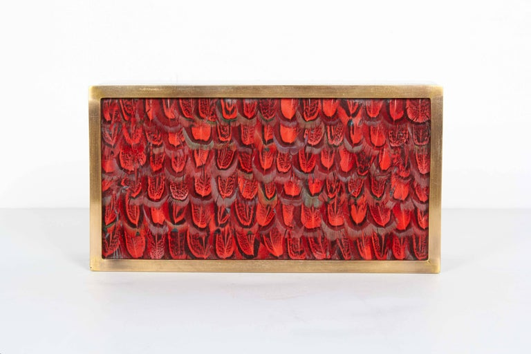 Exquisitely handcrafted decorative or jewelry box. Comprised of lacquered pen shell with geometric patterns in hues of black. Box has bronze trim accent and exotic bird feathers in vibrant red. Fitted with bronze mount and key, and has interior made