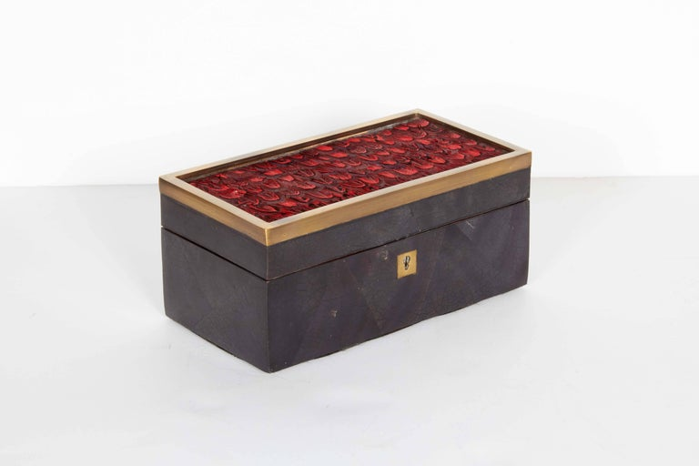 French Organic Modern Decorative Box in Lacquered Pen Shell and Exotic Red Feathers For Sale