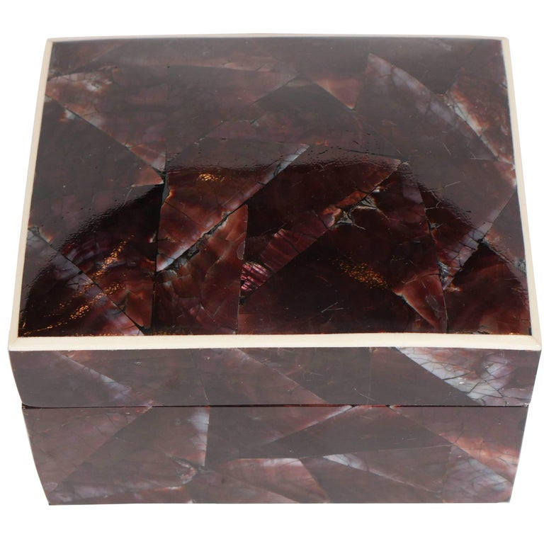 Elegant decorative box or jewelry box comprised of natural pen shell. The luminous iridescent shells have a mosaic pattern in hues of brown and aubergine. Lid features a contrasting exotic bone trim and opens to reveal a palm wood interior. All