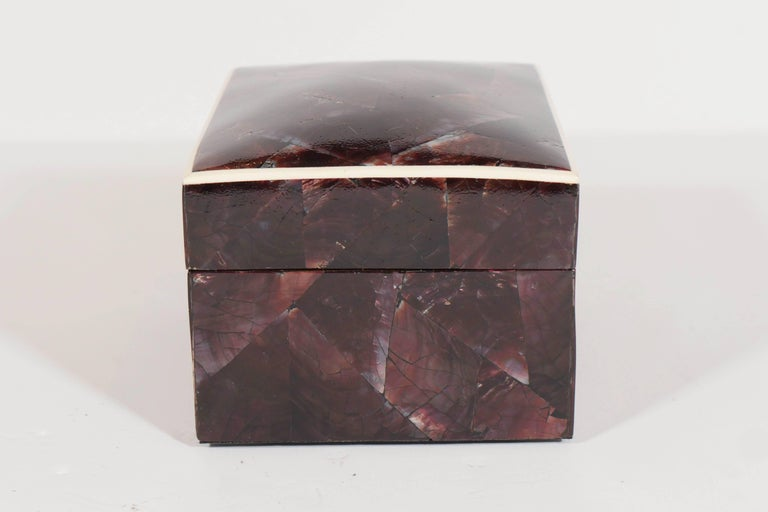 Contemporary Organic Modern Lacquered Pen Shell Decorative Box with Bone Trim For Sale