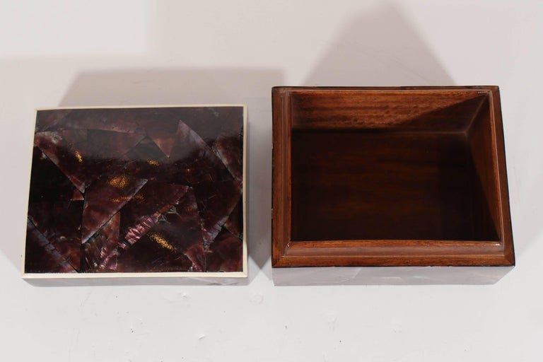 Organic Modern Lacquered Pen Shell Decorative Box with Bone Trim For Sale 1