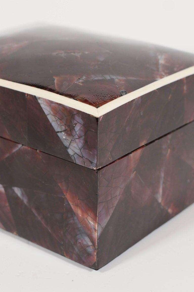 Organic Modern Lacquered Pen Shell Decorative Box with Bone Trim For Sale 2