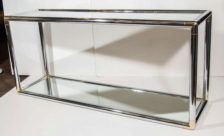 Mid-Century Modern 1970s Italian Mirrored and Chrome Two-Tier Console Table For Sale