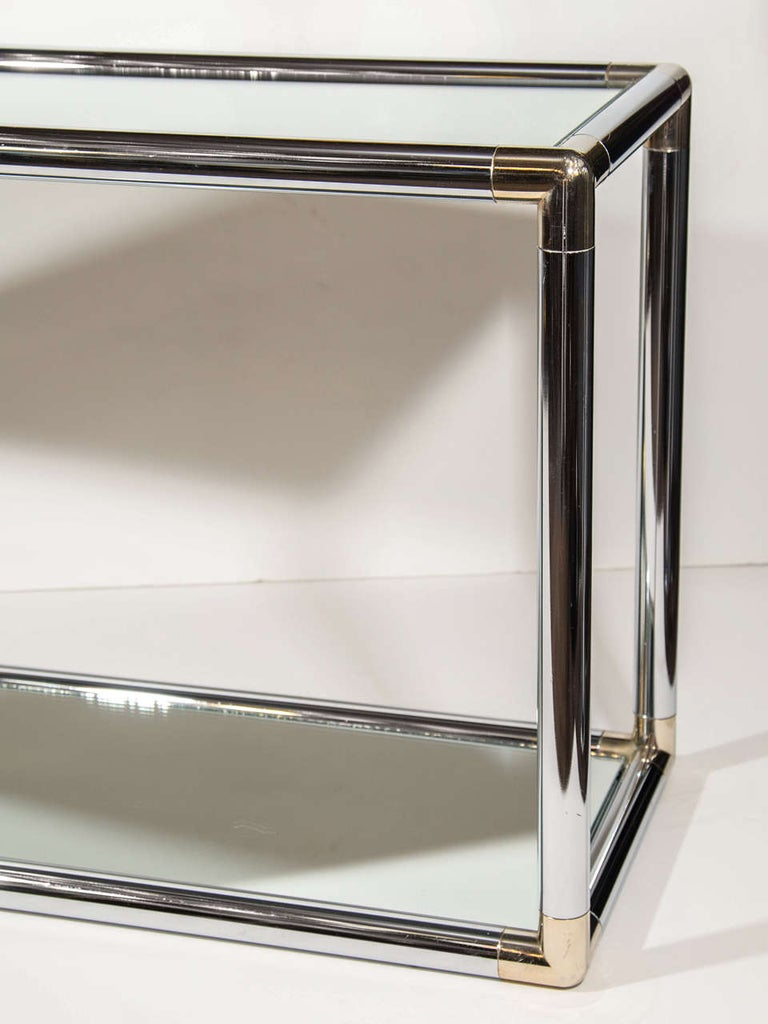 Polished 1970s Italian Mirrored and Chrome Two-Tier Console Table For Sale