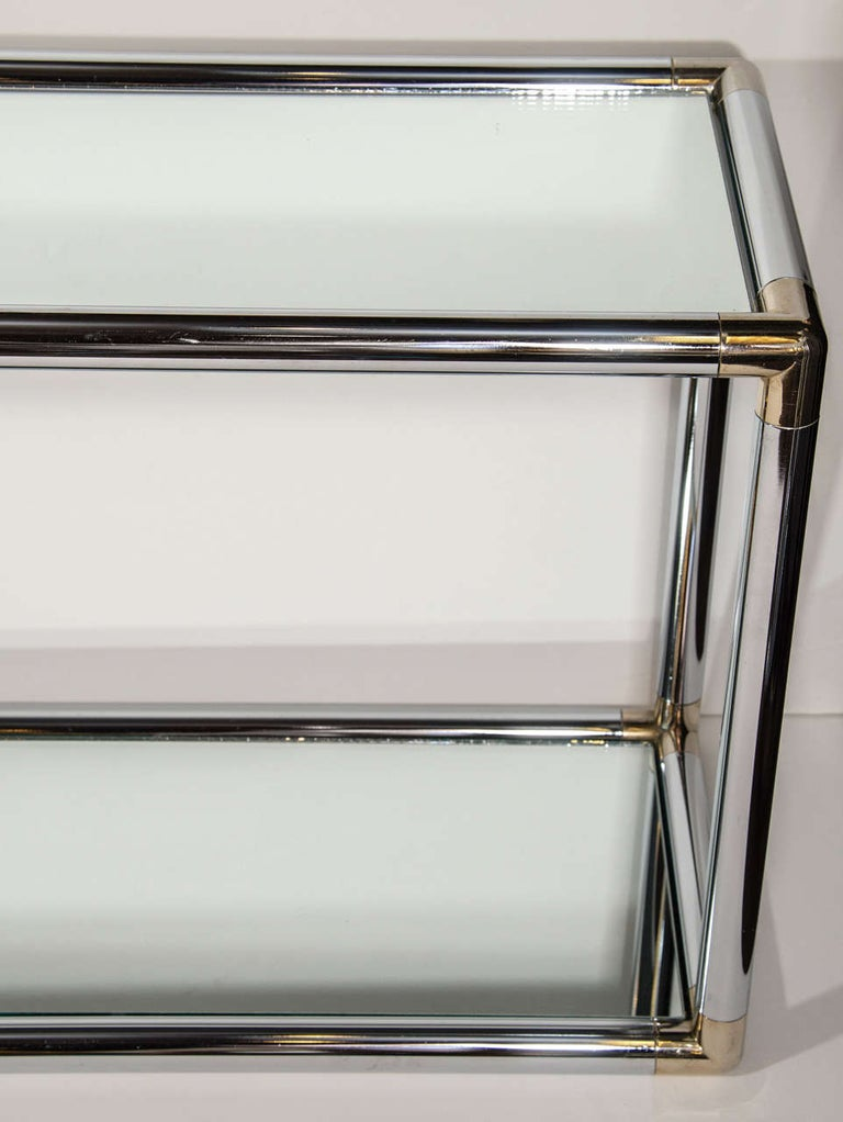 Late 20th Century 1970s Italian Mirrored and Chrome Two-Tier Console Table For Sale