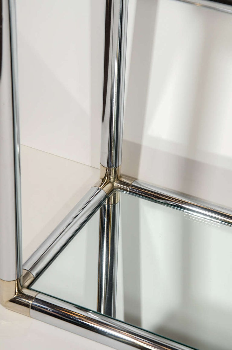 1970s Italian Mirrored and Chrome Two-Tier Console Table For Sale 2