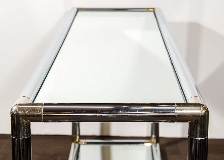 1970s Italian Mirrored and Chrome Two-Tier Console Table For Sale 1
