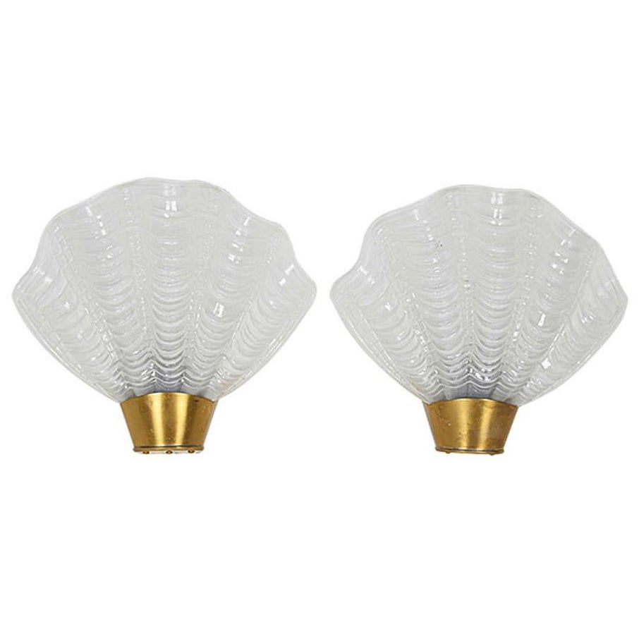 Pair of French Art Deco Sconces with Elegant Shell Design