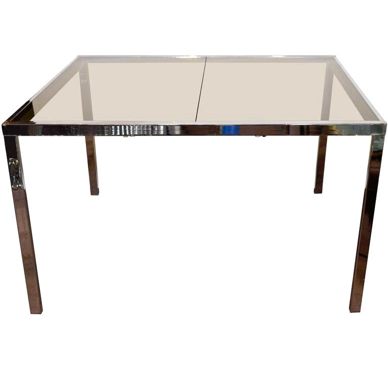 1970s Chrome and Grey Glass Extension Dining Table for DIA