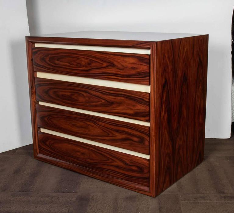 Pair of Vintage Rosewood Dressers with Parchment Accents In Excellent Condition For Sale In Stamford, CT