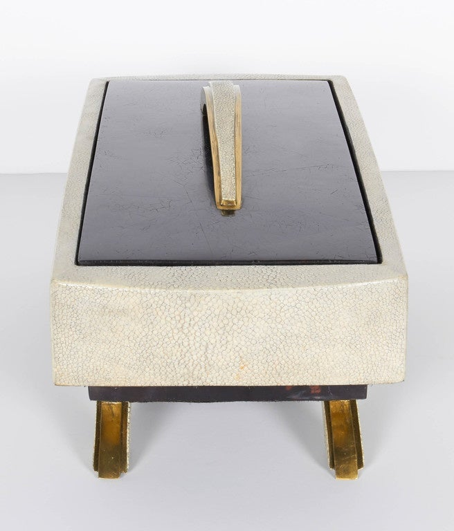 Exquisite Exotic Shagreen and Pen Shell Footed Box 4