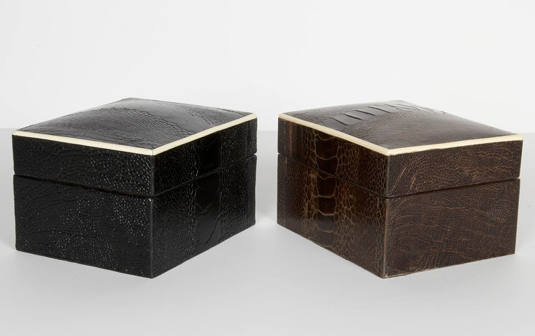 Decorative Bone Boxes : Exotic ostrich leather decorative boxes with bone inlay